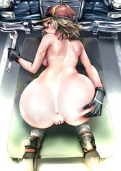 1girl anus ass ass_grab baseball_cap bent_over blonde_hair boots car censored cidney_aurum final_fantasy final_fantasy_xv from_behind gloves grabbing_own_ass green_eyes ground_vehicle hat huge_ass kneeling looking_at_viewer looking_back mechanic motor_vehicle no_pants nude pussy shiny shiny_hair shiny_skin short_hair solo souryu spread_ass tanline wide_hips wrench