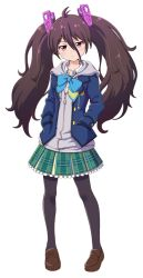 1girl battle_girl_high_school brown_hair long_hair pink_eyes ribbon skirt solo tied_hair tsubuzaki_anko twintails
