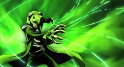 akame_ga_kill! gloves goggles goggles_on_head green_background green_eyes green_hair green_jacket highres jacket lubbock male smirk wire