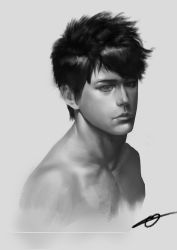 1boy absurdres collarbone dzs_(avpxiaolei) greyscale highres male_focus monochrome original realistic shirtless signature solo