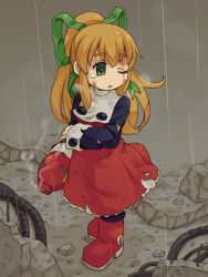1girl android arm_cannon beat_(rockman) blonde_hair boots buttons dirty_face dress frills green_eyes hair_ribbon long_hair long_sleeves mizuno_mumomo one_eye_closed payot ponytail puffy_long_sleeves puffy_sleeves rain ribbon rockman rockman_(classic) roll solo tears torn_clothes weapon