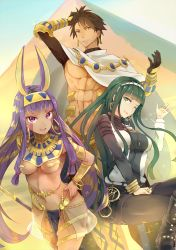 1boy 2girls :d ;d abs bangs belt black_gloves blunt_bangs bracelet breasts brown_eyes brown_hair cleavage cleopatra_(fate/grand_order) dark_skin earrings fate/grand_order fate/prototype fate/prototype:_fragments_of_blue_and_silver fate_(series) gloves green_eyes green_hair hand_on_hip highres hsin jackal_ears jewelry long_hair looking_at_viewer mole mole_under_eye multiple_girls navel nitocris_(fate/grand_order) one_eye_closed open_mouth purple_eyes purple_hair pyramid revealing_clothes rider_(fate/prototype_fragments) smile teeth