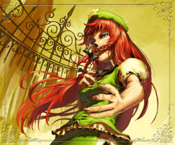1girl beret blue_eyes braid female fingernails floating_hair foreshortening frame from_below gate hand_on_own_chest hands hat higashiyama_hayato hong_meiling long_hair red_hair short_sleeves slit_pupils solo star touhou twin_braids