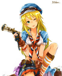 1girl ;p bangs belt blonde_hair blue_hat blush breasts brown_gloves cleavage cosplay crop_top eyebrows eyebrows_visible_through_hair gloves goggles goggles_on_head granblue_fantasy green_eyes gun handgun hasegawa_akiko hat holding holding_gun holding_weapon hoshii_miki idolmaster long_hair looking_at_viewer mary_(granblue_fantasy) mary_(granblue_fantasy)_(cosplay) medium_breasts miniskirt navel one_eye_closed pleated_skirt seiyuu_connection short_sleeves simple_background skirt smile solo tongue tongue_out weapon white_background yatsuka_(846)