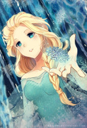 1girl bare_shoulders blonde_hair blue_eyes braid breasts collarbone dutch_angle elsa_(frozen) frozen_(disney) long_hair medium_breasts parted_lips queen rosuuri single_braid snowflakes solo sparkle watermark web_address