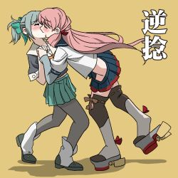 2girls akashi_(kantai_collection) blush bow eyes_closed grey_hair hair_bow hair_ribbon highres hip_vent kantai_collection kiss long_hair multiple_girls pantyhose pink_hair ponytail ribbon school_uniform serafuku skirt thighhighs tress_ribbon twintails yuri yuubari_(kantai_collection)