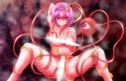 >:( 1girl against_rock alternate_breast_size arm_up armpits breasts censored clenched_teeth collarbone empty_eyes enbanzyou eyeball hairband heart komeiji_satori looking_at_viewer medium_breasts nude pink_eyes pink_hair restrained selfcest short_hair sitting solo spread_legs steam sweat teeth tentacle third_eye touhou