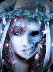 1girl cherry_blossoms cielo_(zaki) hat japanese_clothes looking_at_viewer pink_eyes pink_hair saigyouji_yuyuko short_hair skull solo touhou triangular_headpiece x-ray