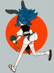 1boy animal_ears ankle_wraps bandage blue_hair bunny_ears bunny_tail carrot from_behind japanese_clothes kemonomimi_mode l_hakase male_focus running sandals sayo_samonji shorts simple_background solo tail touken_ranbu