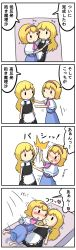 2girls 4koma alice_margatroid apron blonde_hair blush bow braid capelet comic hairband highres kirisame_marisa long_hair multiple_girls no_hat no_headwear potaaju short_hair single_braid sweat touhou translation_request waist_apron