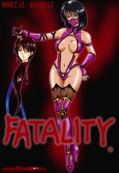 armband bare_shoulders black_hair blood blue_eyes boots breasts brown_hair elbow_gloves female fingerless_gloves gloves guro hand_on_hip highres hips kitana leotard long_hair mask midriff mileena mortal_kombat navel orange_eyes ribbon shaved short_hair thighhighs thighs wristband