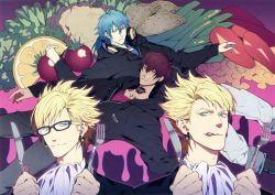 4boys blonde_hair blue_hair dramatical_murder earrings food fork glasses headphones headphones_around_neck honya_lala hoodie jewelry knife licking_lips mizuki_(dramatical_murder) multiple_boys official_art red_hair scan seragaki_aoba tattoo trip_(dramatical_murder) virus_(dramatical_murder)