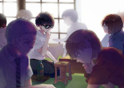 6+boys black-framed_eyewear black_hair blurry blurry_background board_game bottle brown_hair eye_contact glasses green_eyes hand_on_own_chin indoors kiriyama_rei kneeling light_brown_hair looking_at_another luo. male_focus multiple_boys necktie nikaidou_harunobu sangatsu_no_lion shirt shougi sitting smile striped striped_necktie thinking water_bottle white_shirt