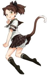 1girl abe_kanari animal_ears black_legwear bloomers brown_hair brown_skirt cat_ears cat_tail eyebrows eyebrows_visible_through_hair hair_tie kantai_collection looking_at_viewer looking_back open_mouth ponytail school_uniform shikinami_(kantai_collection) short_sleeves simple_background skirt skirt_lift socks solo tail underwear white_background yellow_eyes