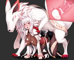 1girl ahegao all_fours animal_ears ara_han areolae bent_over bestiality blush breasts brown_eyes cross_section cum cum_in_pussy cum_on_ass cum_pool cumdrip doggystyle ejaculation elsword fox fox_ears fucked_silly hanging_breasts heart large_breasts long_hair nipples open_mouth penis tongue vaginal white_hair