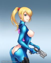 1girl adapted_costume areolae artist_name ass bangs blonde_hair bodysuit breasts burbur butt_crack green_eyes gun hair_over_one_eye huge_ass impossible_clothes latex looking_at_viewer looking_back metroid mole mole_under_mouth nintendo nipples patreon ponytail samus_aran shiny shiny_clothes sideboob simple_background skin_tight smile solo spandex weapon web_address zero_suit