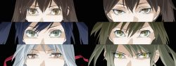 akagi_(kantai_collection) angry black_background blue_hair brown_eyes brown_hair green_eyes headband highres hiryuu_(kantai_collection) kaga_(kantai_collection) kantai_collection long_hair looking_at_viewer persona_eyes shoukaku_(kantai_collection) souryuu_(kantai_collection) tagme udon_(shiratama) white_hair zuikaku_(kantai_collection)