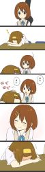 2girls blue_ribbon blush brown_eyes brown_hair chair collared_shirt comic desk dress_shirt ear_blush eyes_closed full-face_blush hair_ornament hairband hairclip hand_on_another's_head head_rest highres hirasawa_yui k-on! kakari_(peehs) multiple_girls neck_ribbon petting ribbon school_uniform shirt short_hair short_sleeves sleeping smile sweater_vest tainaka_ritsu white_shirt wing_collar yellow_hairband zzz