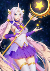1girl blonde_hair blue_eyes bridal_gauntlets choker gradient_hair highres horn kezi league_of_legends lips long_hair looking_at_viewer magical_girl multicolored_eyes multicolored_hair pink_hair pointy_ears purple_skirt skirt sky solo soraka staff star star_(sky) starry_sky thighhighs very_long_hair white_legwear zettai_ryouiki
