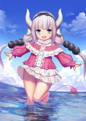 1girl :d barefoot beads blue_eyes blush capelet center_frills cloud day dragon_girl dragon_horns dragon_tail full_body hair_beads hair_ornament horns kanna_kamui kobayashi-san_chi_no_maidragon lavender_hair leg_up long_sleeves looking_at_viewer low_twintails open_mouth outdoors outstretched_arms partially_submerged reflection sannye shirt skirt sky smile solo spread_arms standing standing_on_one_leg tail twintails water white_skirt