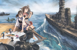 6+girls a6m_zero ahoge aircraft_carrier airplane akagi_(kantai_collection) antiaircraft_weapon barefoot battleship black_hair black_legwear blue_hair blue_sky breasts brown_eyes brown_hair cannon chibi clipboard cloud cloudy_sky damage_control_crew_(kantai_collection) damage_control_goddess_(kantai_collection) doraxi fairy_(kantai_collection) giantess hakama_skirt headband helmet_musume_(kantai_collection) highres jacket japanese_clothes kaga_(kantai_collection) kantai_collection long_hair looking_at_another looking_down maintenance_musume_(kantai_collection) map marker miniskirt multiple_girls muneate ocean outdoors paper pencil pink_hair pleated_skirt ponytail ship short_hair side_ponytail sitting skirt sky solid_oval_eyes standing thighhighs turret twintails warship