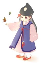 1boy butterfly child full_body hanbok hat jojo_no_kimyou_na_bouken kakyouin_noriaki korean_clothes male_focus pencil_(haen2) purple_eyes red_hair smile solo tagme younger