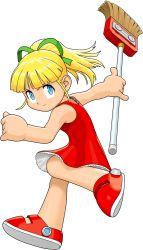 1girl blonde_hair blue_eyes broom capcom child dress flat_chest hair_ribbon highres mori_toshiaki official_art red_dress ribbon robot rockman rockman_(classic) roll solo tatsunoko_vs_capcom