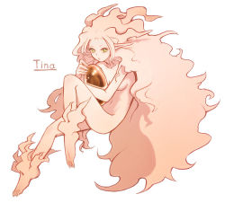 1girl amino-san ass breasts esper female final_fantasy final_fantasy_vi full_body long_hair monochrome monster_girl no_pants nude pink_hair pink_skin pointy_ears simple_background solo tina_branford trance_tina_branford white_background
