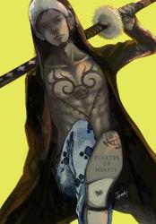 1boy heart_pirates hoodie jeans male one_piece open_shirt sheathed_sword solo trafalgar_law
