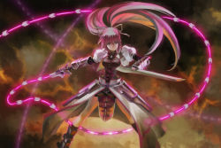 1girl armor armored_boots blue_eyes boots breasts closed_mouth cropped_jacket faulds fingerless_gloves gauntlets gloves glowing hair_ribbon highres holding holding_sheath holding_weapon legs_apart levantine long_sleeves lyrical_nanoha mahou_shoujo_lyrical_nanoha mahou_shoujo_lyrical_nanoha_a's medium_breasts outstretched_arm pelvic_curtain pink_hair ponytail puffy_short_sleeves puffy_sleeves ribbon sheath short_sleeves signum standing visqi waist_cape weapon whip_sword