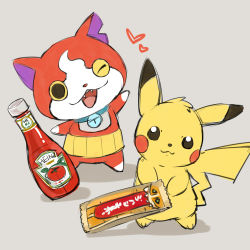 bottle candy_bar cat chocoboo crossover fangs heart heinz jibanyan ketchup looking_at_viewer no_humans notched_ear one_eye_closed open_mouth pikachu pokemon simple_background sketch youkai youkai_watch zrae