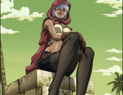 1girl cigarette female jojo_no_kimyou_na_bouken legs_crossed mariah screencap sitting solo stardust_crusaders