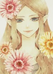1girl 93kei blonde_hair blue_eyes daisy elf flower galadriel gerbera_daisy grey_background long_hair lord_of_the_rings middle_earth pointy_ears portrait queen simple_background solo