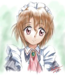 10s 1girl 2012 artist_name brown_hair dated folded_ponytail hayate_no_gotoku! highres kem_kem light_smile maid maria_(hayate_no_gotoku!) red_eyes short_hair signature sketch solo