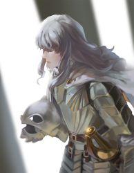 1boy armor berserk blue_eyes blurry breastplate cape depth_of_field faulds griffith helmet lips long_hair male_focus mr.jj pauldrons sheath sheathed sidelocks solo sword weapon white_hair