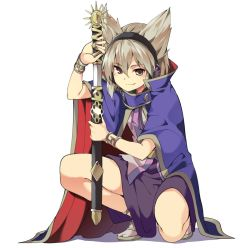 1girl blonde_hair bracer cape drawing_sword earmuffs hasebe_yuusaku holding holding_sword holding_weapon looking_at_viewer pointy_hair sandals sheath simple_background skirt smirk solo squatting sword tabi touhou toyosatomimi_no_miko weapon white_background yellow_eyes