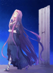 1girl breasts cleavage dress eyes_closed fate/stay_night fate_(series) purple_hair rider sandals very_long_hair