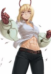 1girl abs antennae belt blonde_hair clenched_hand female glasses highres jeans michelle_k._davis muscle ranma_(kamenrideroz) red_eyes smile solo terra_formars toned white_background wind