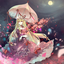 1girl aili_(aliceandoz) bangs bare_shoulders blonde_hair breasts bustier butterfly cherry_blossoms choker cleavage collarbone dress earrings elbow_gloves frilled_dress frills full_moon gloves hair_between_eyes hair_ribbon hat hat_ribbon highres holding holding_umbrella jewelry long_dress long_hair looking_at_viewer mob_cap moon night parasol petals purple_dress purple_eyes red_ribbon ribbon ribbon_choker short_sleeves sidelocks sleeveless sleeveless_dress solo touhou tress_ribbon umbrella very_long_hair white_gloves white_hat yakumo_yukari