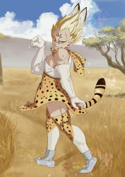 1boy absurdres animal_ears animal_print bare_shoulders blonde_hair blue_sky boots cloud commentary_request cosplay crossdressing day dragon_ball elbow_gloves eyebrows facial_mark forehead_mark full_body gloves green_eyes highres kemono_friends looking_at_viewer majin_vegeta muscle nature outdoors savannah serval_(kemono_friends) serval_(kemono_friends)_(cosplay) serval_ears serval_print serval_tail shirt short_hair skirt sky sleeveless sleeveless_shirt smile solo standing tail thighhighs trait_connection usagiherb_(z753503634) vegeta white_boots white_shirt zettai_ryouiki