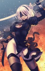 1girl arm_at_side arm_up bangs black_dress black_gloves black_hairband black_legwear black_ribbon blindfold boots breasts brown_legwear cleavage cleavage_cutout contrapposto covered_eyes cowboy_shot dress gloves gluteal_fold grey_leotard groin hair_over_eyes hair_over_one_eye hairband highres holding holding_sword holding_weapon juliet_sleeves katana legs_apart leotard light_particles long_sleeves medium_breasts mole mole_under_mouth nier_(series) nier_automata nose outdoors parted_lips pink_lips puffy_sleeves ribbed_dress ribbon short_dress short_hair side_slit silver_hair skin_tight solo sword thigh_boots thighhighs uniikura vambraces weapon weapon_on_back wind wind_lift yorha_no._2_type_b