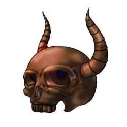 a-c_(pixiv163224) chocolate chocolate_statue horns jitsu_wa_watashi_wa no_humans sculpture simple_background skull transparent_background