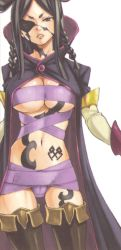 absurdres bandage black_hair boots breasts brown_eyes brown_footwear cape cleavage demon eyepatch fairy_tail female hair_rings highres large_breasts light_background long_hair long_sleeves looking_at_viewer mashima_hiro minerva navel official_art scan shoes simple_background solo tattoo thigh_boots thighhighs underboob white_background