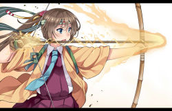 1girl adapted_costume aqua_necktie archery arrow blue_eyes bow bow_(weapon) brown_hair cosplay drawing_bow dress electricity fire hachimaki hair_ribbon headband hiryuu_(kantai_collection) hiryuu_(kantai_collection)_(cosplay) holding holding_weapon kantai_collection kazagumo_(kantai_collection) kusano_(torisukerabasu) letterboxed long_hair looking_to_the_side necktie open_mouth pleated_dress ponytail ribbon school_uniform shirt sleeveless sleeveless_dress solo souryuu_(kantai_collection)_(cosplay) weapon white_shirt