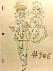 2girls breasts card female gradient gradient_background highres hiroki_(vvkagerouvvr2) multiple_girls tenjouin_asuka traditional_media yu-gi-oh! yuu-gi-ou_arc-v