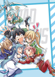1boy 5girls @_@ animal_ears asuna_(sao) asuna_(sao-alo) bibi bow_(weapon) cat_ears gloves hug kirito kirito_(sao-alo) leafa lisbeth lisbeth_(sao-alo) looking_at_viewer multiple_girls pointy_ears reaching_out romaji shinon_(sao-alo) silica silica_(sao-alo) sleeping sword_art_online weapon
