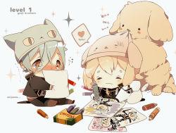 2boys animal_hat cat_hat chibi child_drawing crayon dog hat higekiri_(touken_ranbu) hizamaru_(touken_ranbu) loyalists multiple_boys touken_ranbu