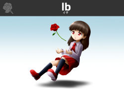 1girl bangs brown_hair character_name collared_shirt flower ib ib_(ib) necktie open_mouth parody red_eyes red_rose red_skirt rose shadow shan_grila shirt shoes skirt solo super_smash_bros. symbol thighhighs white_shirt
