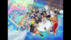 armin_arlert asuna_(sao) crossover dutch_angle edogawa_conan eren_yeager haibara_ai haruno_sakura hatake_kakashi highres kaitou_kid kirito leafa levi_(shingeki_no_kyojin) meitantei_conan mikasa_ackerman monkey_d_luffy mouri_ran nami naruto official_art one_piece roronoa_zoro shingeki_no_kyojin shinon_(sao) shounen_jump sword_art_online tony_tony_chopper uchiha_sasuke uzumaki_naruto