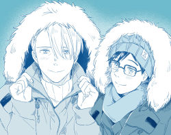 2boys copyright_name fur_trim glasses hat hood hooded_jacket jacket katsuki_yuuri male_focus mamemomota monochrome multiple_boys scarf smile upper_body viktor_nikiforov yuri!!!_on_ice